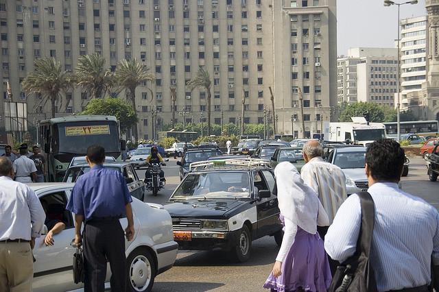 pedestrians in Cairo