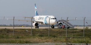 The hijacked plane at Larnaka airport, Cyprus