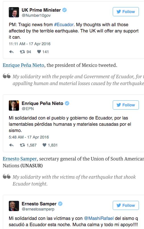Ecuador earthquakefsef death toll rises after 7.8 magnitude quake latest developments World news The Guardian