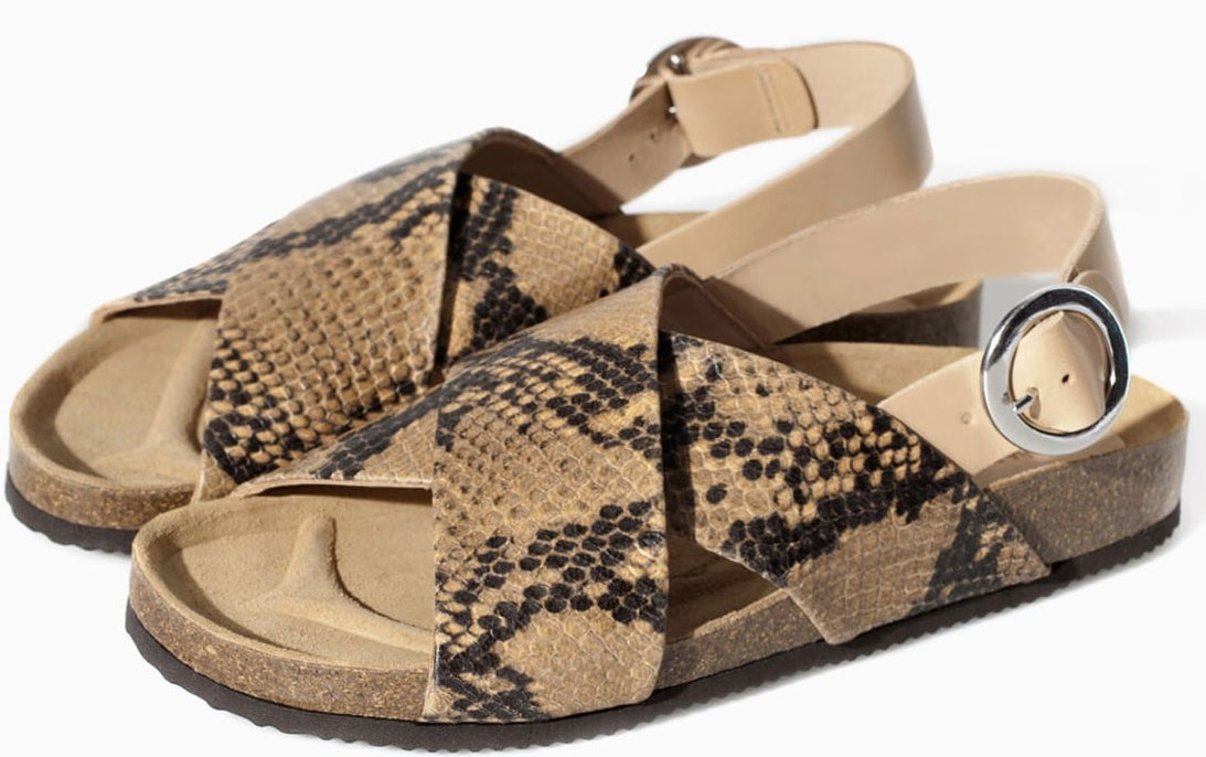 Zara-tan-snakeskin-cork-double-strap-flat-sandals-100