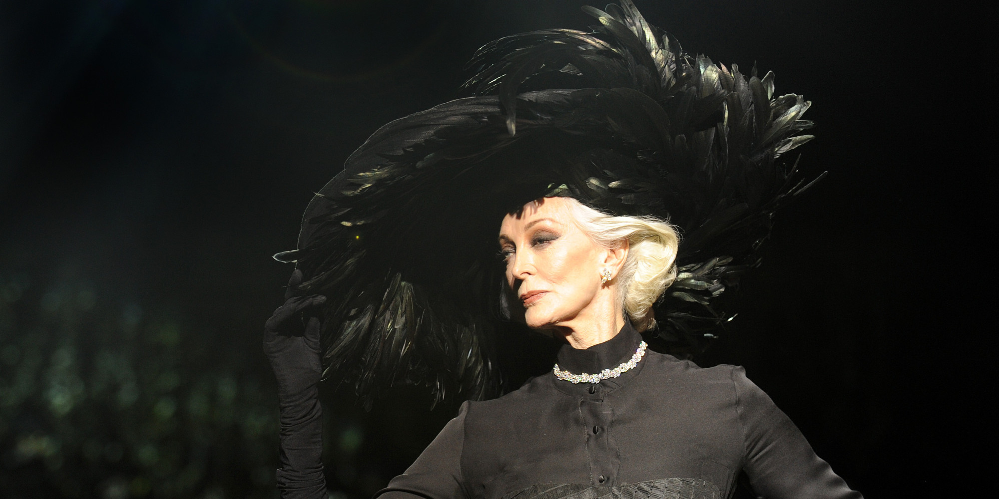 LONDON - FEBRUARY 21: Carmen Dell'Orifice walks the catwalk during the Qasimi show during a/w 2009 London Fashion Week at St Mary's Church on February 22, 2009 in London, England. (Photo by Samir Hussein/Getty Images)