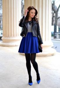 With-gray-shirt-black-leather-jacket-black-tights-and-blue-shoes