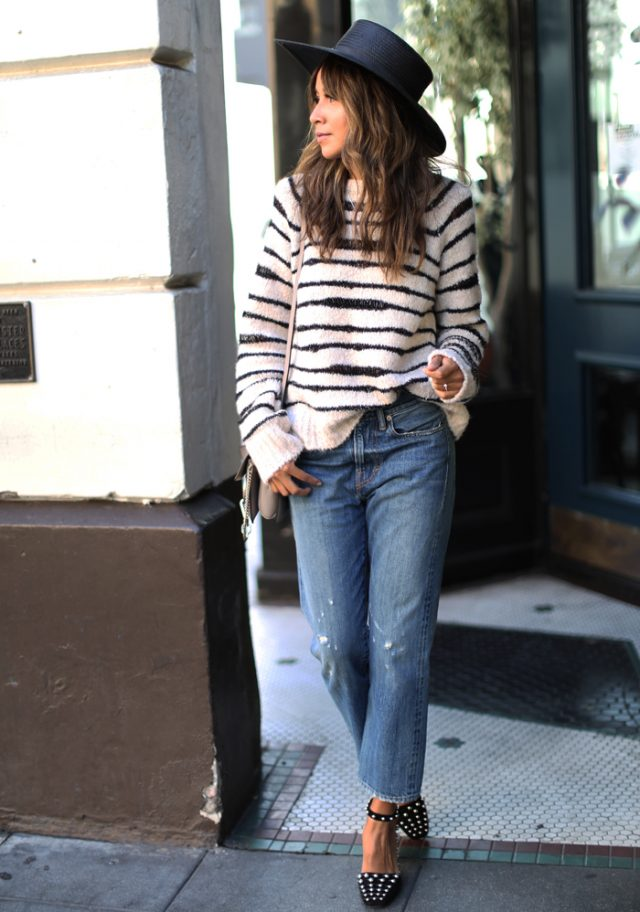 Black-and-White-Striped-Sweater-Blue-Jeans