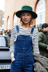 Le-Fashion-Blog-London-Street-Style-Green-Hat-Short-Blonde-Bob-Long-Sleeve-Striped-Shirt-Denim-Overalls-Leopard-Coat