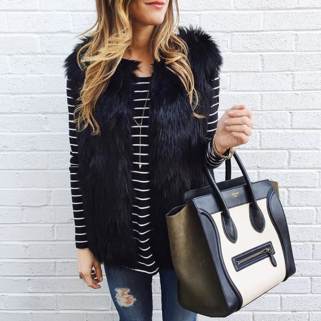 black-white-stripe-long-sleeve-tee-black-faux-fur-vest-celine-bag-winter-outfit-650x650