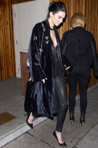 Le-Fashion-Blog-Fall-Model-Off-Duty-Style-Kendall-Jenner-Embellished-Navy-Coat-Low-Cut-Silk-Top-Leather-Pants-Bag-With-Fur-Pom-Pumps-Via-Elle_1