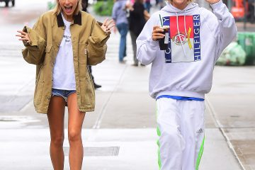 Justin Bieber and Hailey Baldwin looked like the happiest of couples as they stepped out in NYC on Wednesday morning. They spent the night together at Bieber's hotel , and emerged just before Noon . They went to Starbucks together, and happily waved to the paparazzi. Hailey did however hide her engagement ring finger under her jacket sleeves, after flaunting a ring the night before .  Pictured:  Ref: SPL5003415 130618 NON-EXCLUSIVE Picture by: 247PAPS.TV / SplashNews.com  Splash News and Pictures Los Angeles: 310-821-2666 New York: 212-619-2666 London: 0207 644 7656 Milan: +39 02 4399 8577 photodesk@splashnews.com  World Rights,