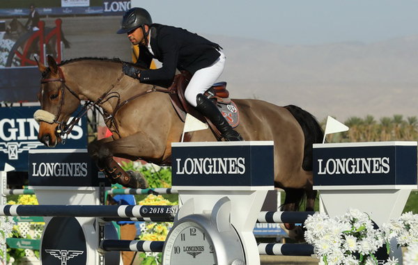 Nayel Nassar (EGY) and his ride Lordan are the shining stars of Thermal winning the Longines FEI World Cup Jumping™, the final leg of the west coast sub league of the North American League. (FEI / Glen Burgess)