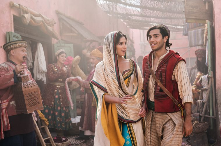 Naomi Scott as Jasmine and Mena Massoud as Aladdin in Disney's live-action adaptation of ALADDIN, directed by Guy Ritchie.
