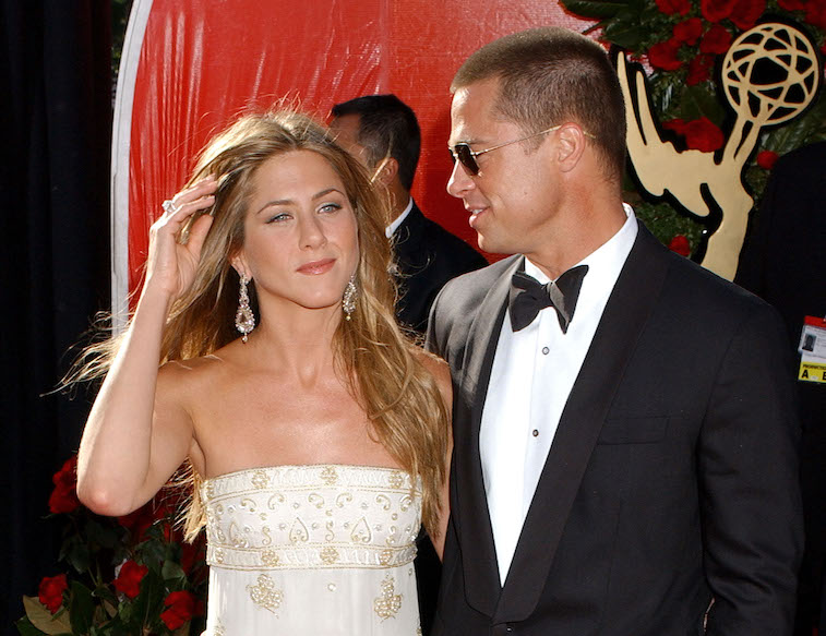 Jennifer Aniston and Brad Pitt during The 56th Annual Primetime Emmy Awards - Arrivals at The Shrine Auditorium in Los Angeles, California, United States. (Photo by Gregg DeGuire/WireImage)