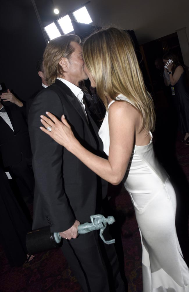 LOS ANGELES, CALIFORNIA - JANUARY 19:  Brad Pitt and Jennifer Aniston attend the 26th Annual Screen Actors Guild Awards at The Shrine Auditorium on January 19, 2020 in Los Angeles, California.  (Photo by Vivien Killilea/Getty Images for SAG-AFTRA Foundation)