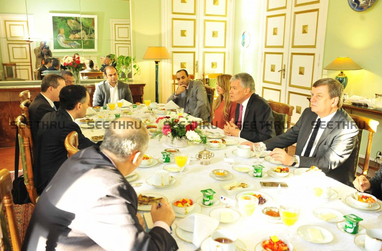 H.E The French Ambassador 7 The Media Representatives around the Breakfast table