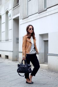 Striped-Sweater-and-Leather-Jacket