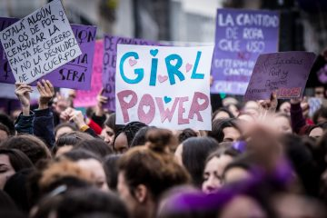 MADRID, SPAIN - MARCH 08:  Demonstrators hold placards as they protest during a one day strike to defend women's rights on International Women's Day in Madrid, on March 8, 2018. Spain celebrated International Women's Day today with an unprecedented general strike in defence of their rights that saw hundreds of trains cancelled and countless protests scheduled throughout the day.  (Photo by Pablo Cuadra/Getty Images)